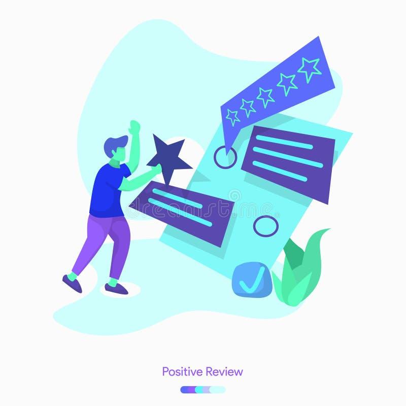revisão positiva da ilustração ilustração stock