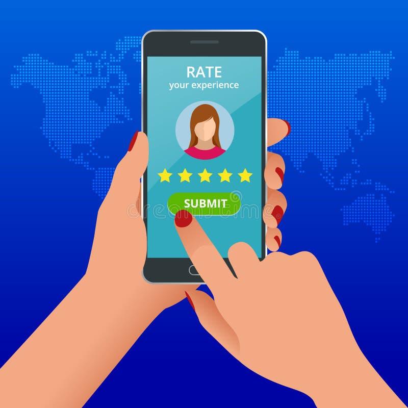 Revisões do cliente Reveja a avaliação no telefone celular, ilustração do vetor do feedback Revisão do cliente da leitura no tele ilustração royalty free