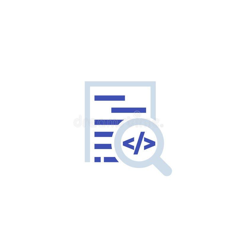 Revisión del código, icono del desarrollo de programas ilustración del vector