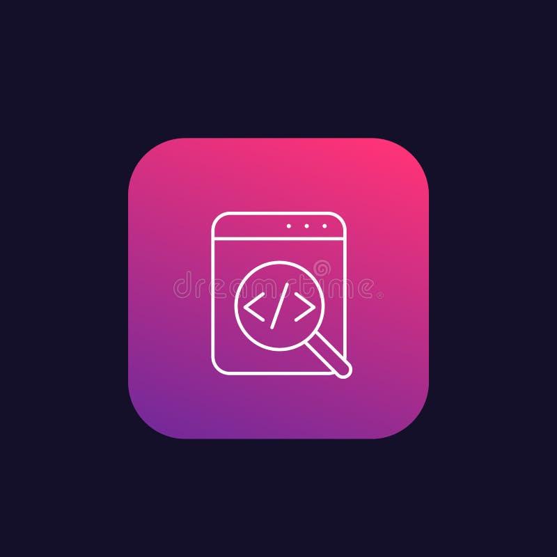 Revisión del código, icono linear del desarrollo de programas libre illustration