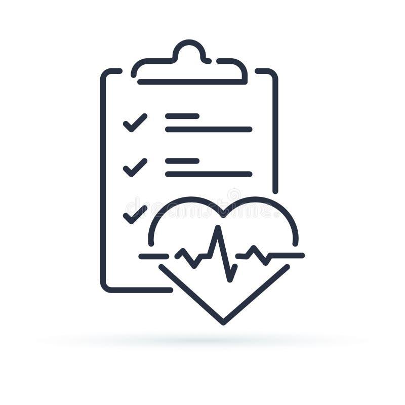 Revisión médica encima de la lista de control para el servicio de diagnóstico de la electrocardiografía del corazón de la prueba  ilustración del vector