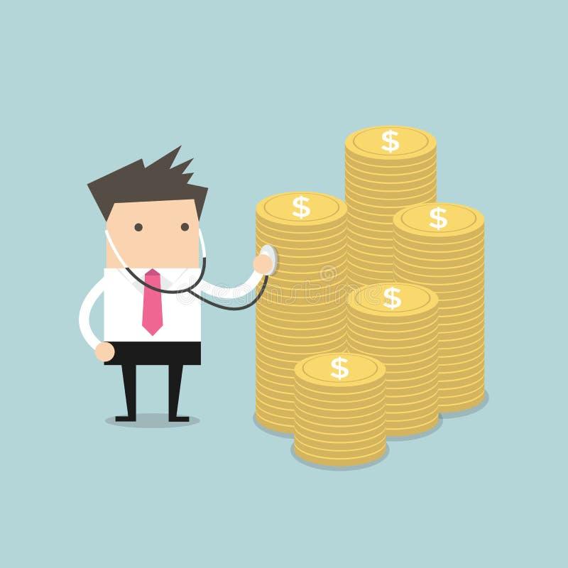 Revisión médica financiera de Businessma con el estetoscopio ilustración del vector