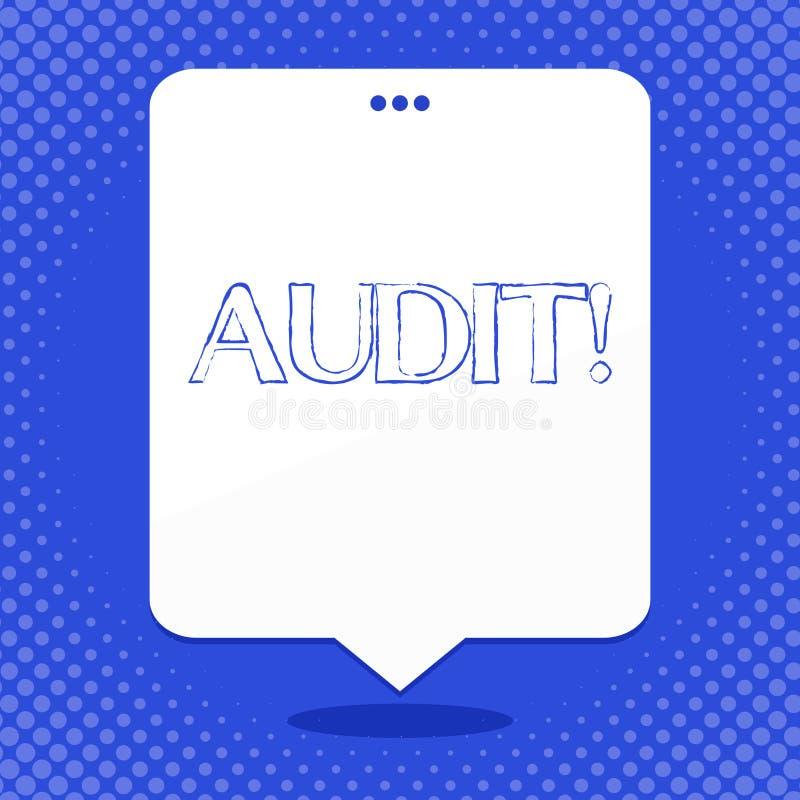 Revision för ordhandstiltext Affärsidéen för lokala företagsrevisorer utför deras finansiella utredning årligen stock illustrationer