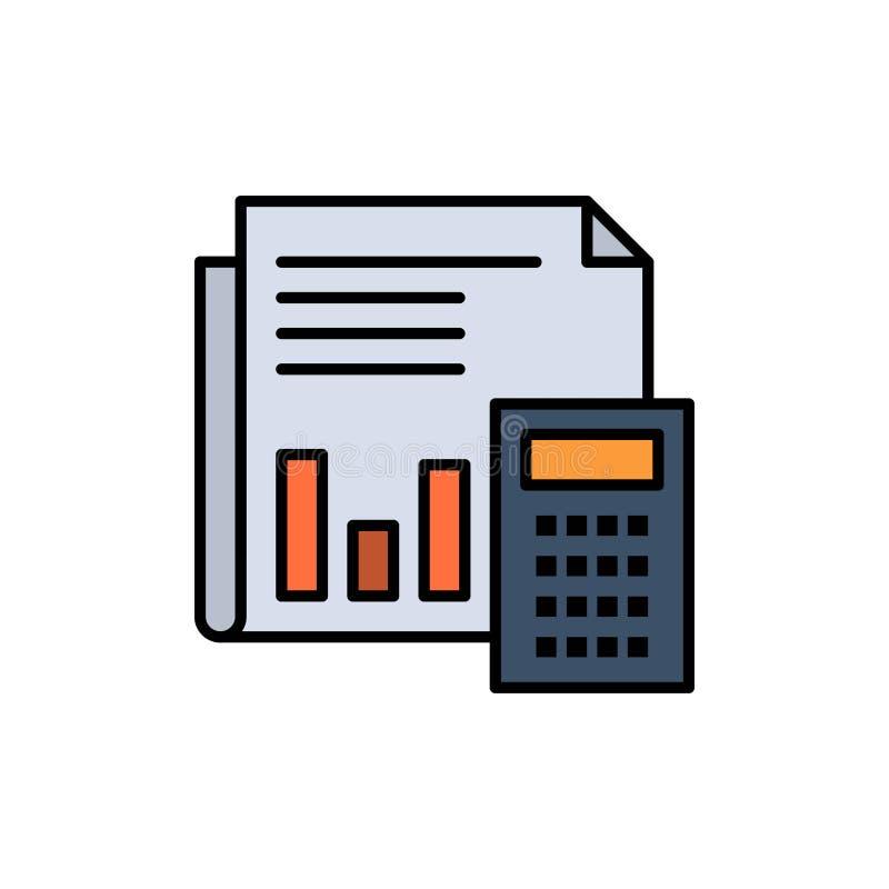 Revision redovisning, bankrörelse, budget, affär, beräkning som är finansiell, plan färgsymbol för rapport Mall för vektorsymbols stock illustrationer
