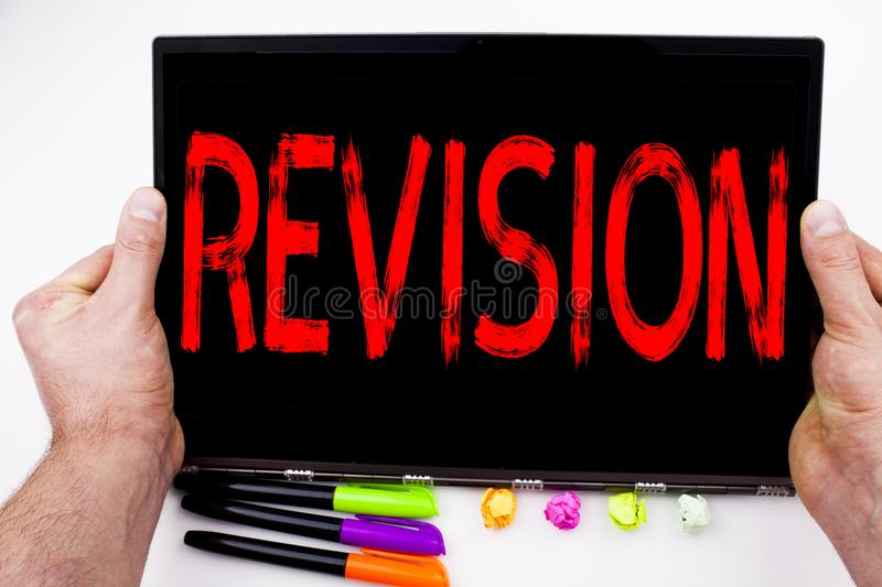 Revision text written on tablet, computer in the office with marker, pen, stationery. Business concept for Repeat Repetition Educa. Tion Material for Exam white stock photos