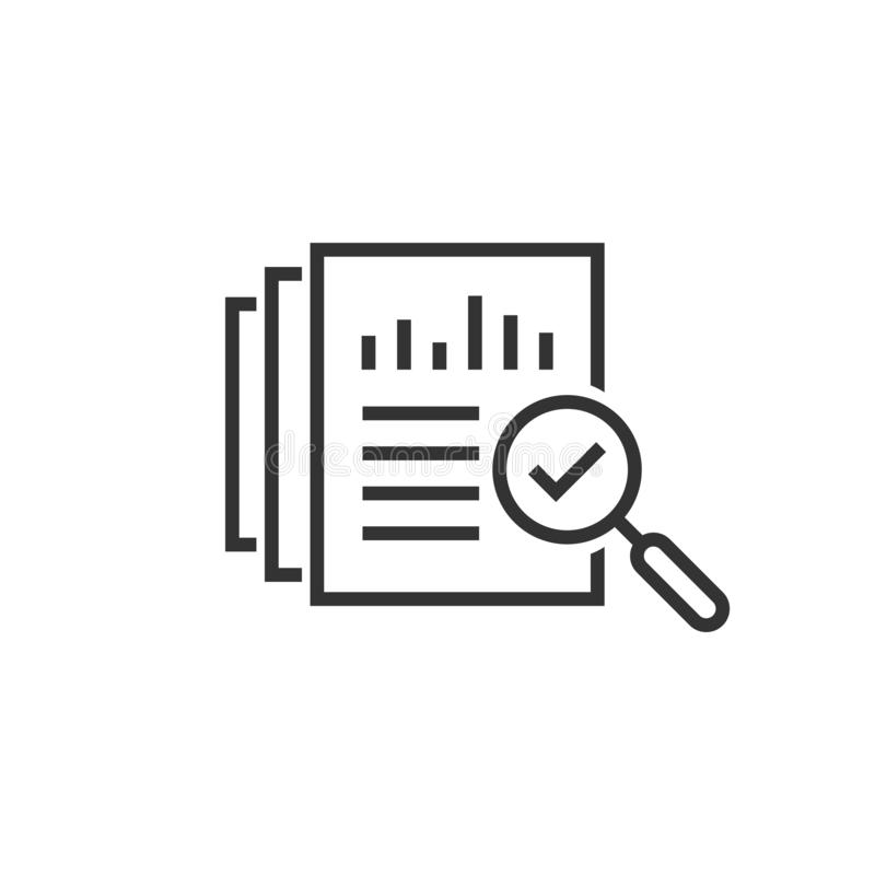 Revisionsdokumentsymbol i plan stil Illustration för resultatrapportvektor på vit isolerad bakgrund Verifikationskontrollaffär royaltyfri illustrationer