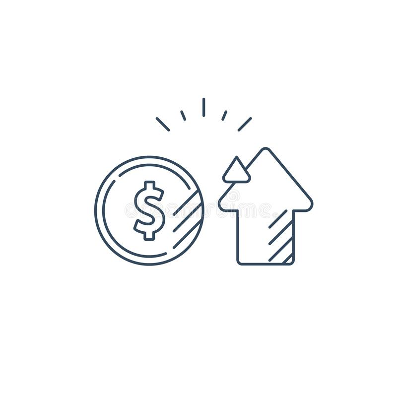 Revisionsservice, finansiellt konsultera, id? f?r pengarinvesteringstrategi, linje symbol royaltyfri illustrationer