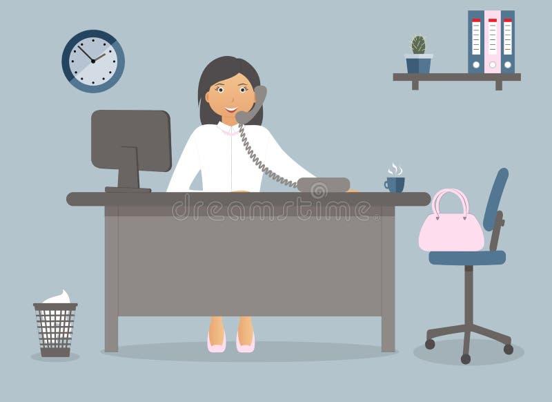 Revisor eller kontorsarbetare på arbetsplatsen i kontoret på blå bakgrund också vektor för coreldrawillustration Tabell klocka, k royaltyfri illustrationer
