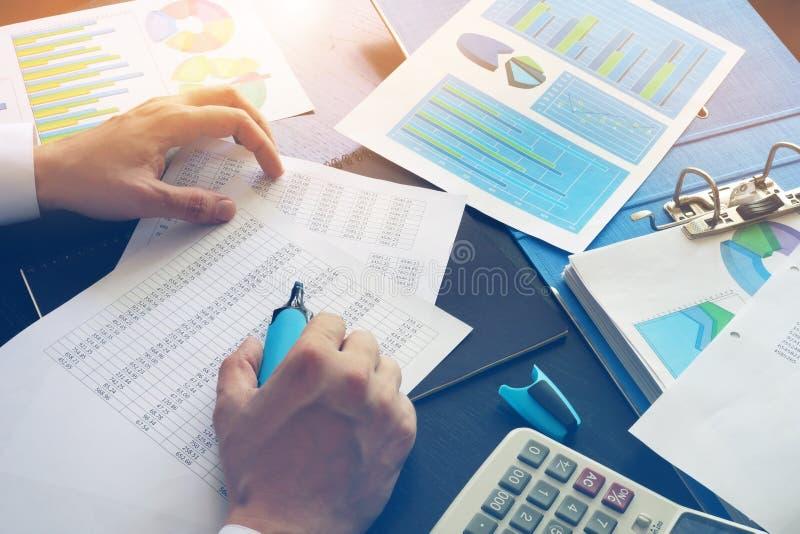 Revisor som kontrollerar finansiella data royaltyfria bilder