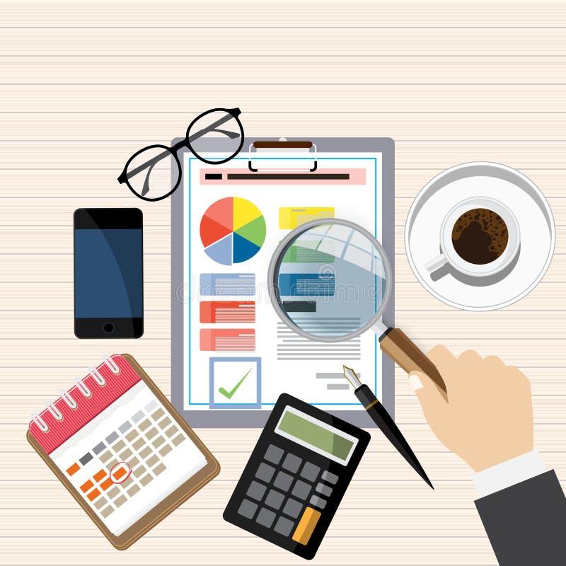 Revisorarbetsskrivbord, rapport för finansiell forskning, skrivbords- vektor för projekt, arkivbild