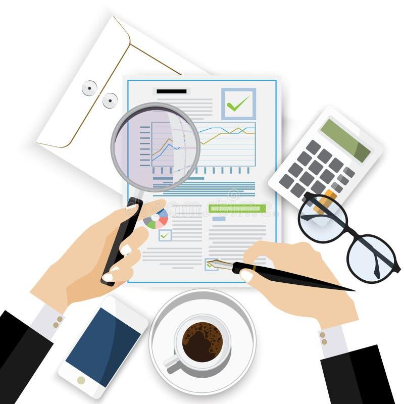 Revisorarbetsskrivbord, rapport för finansiell forskning, skrivbords- vektor för projekt, royaltyfria bilder