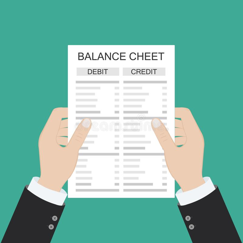 Revisorn med rapporten och en r?knemaskin kontrollerar pengarj?mvikt Finansiella rapporter meddelande och dokument Redovisning bo vektor illustrationer