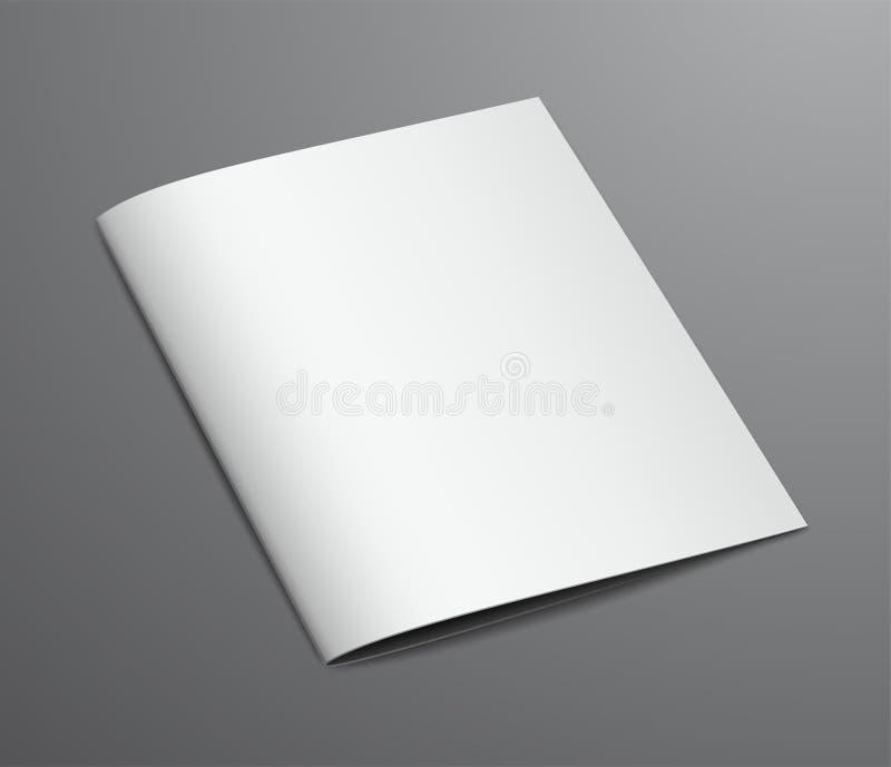 Revista cerrada blanca en blanco del folleto stock de ilustración