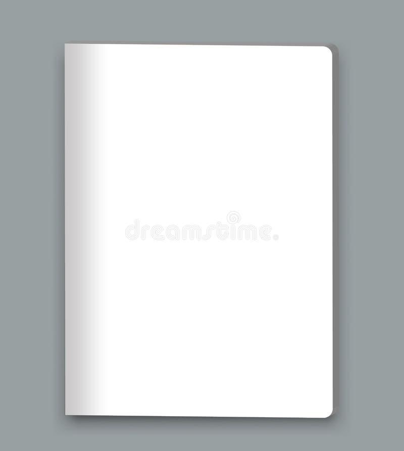 Revista cerrada en blanco, libro, folleto, plantilla de la cubierta de la maqueta del folleto stock de ilustración