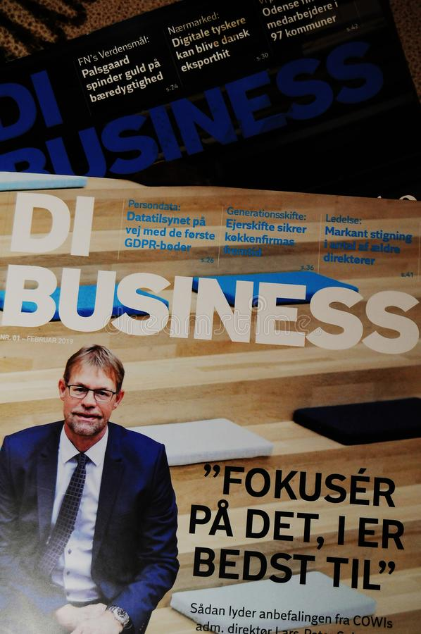REVISTA COMERCIAL DE LA INDUSTRIA DE DI BUSINESS DANISH fotografía de archivo libre de regalías