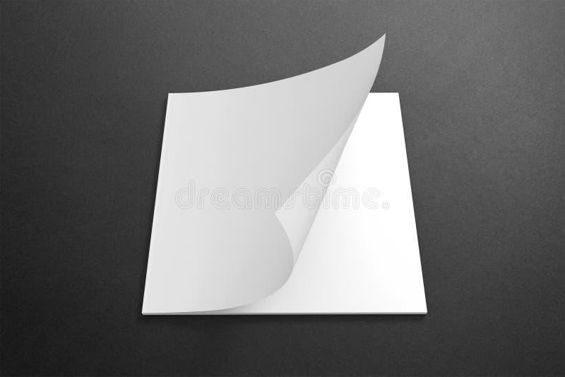 Revista cuadrada en blanco en el fondo oscuro libre illustration