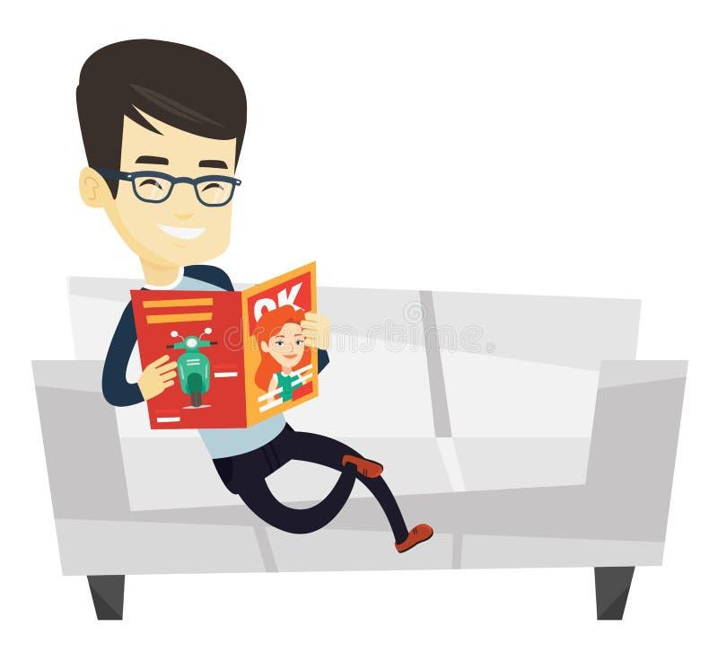 Revista de la lectura del hombre en el ejemplo del vector del sofá stock de ilustración