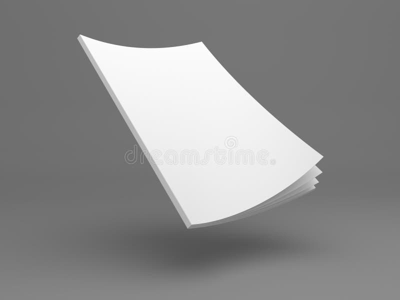 Revista en blanco del ejemplo que vuela 3D con las páginas de la abertura ilustración del vector