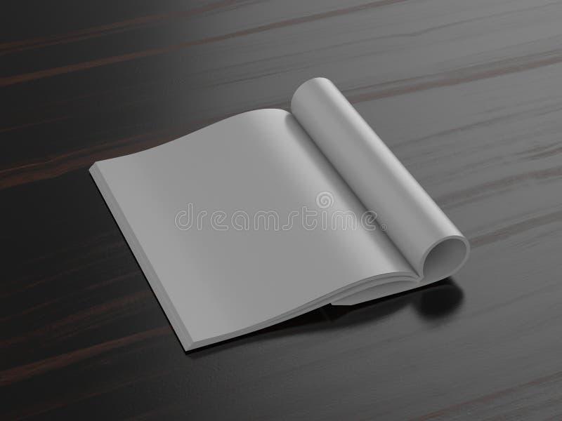 Revista en blanco en fondo oscuro ilustración del vector