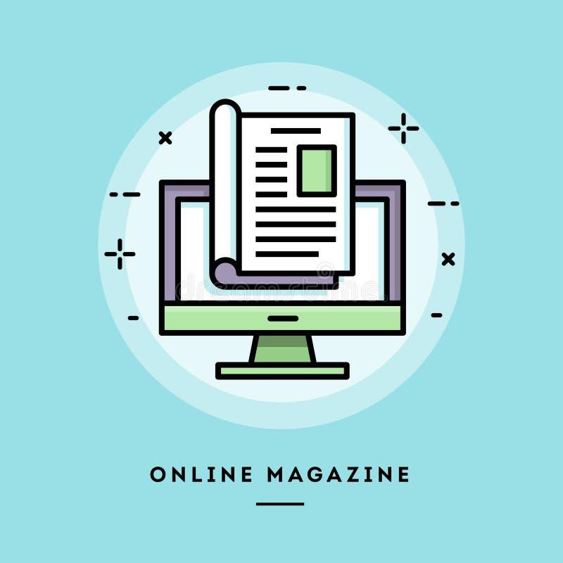 Revista en línea, línea fina bandera del diseño plano ilustración del vector
