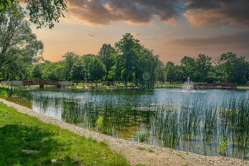 City park in the city of Zdunska Wola, Poland. A revitalized park from the 19th century in the city center royalty free stock photography