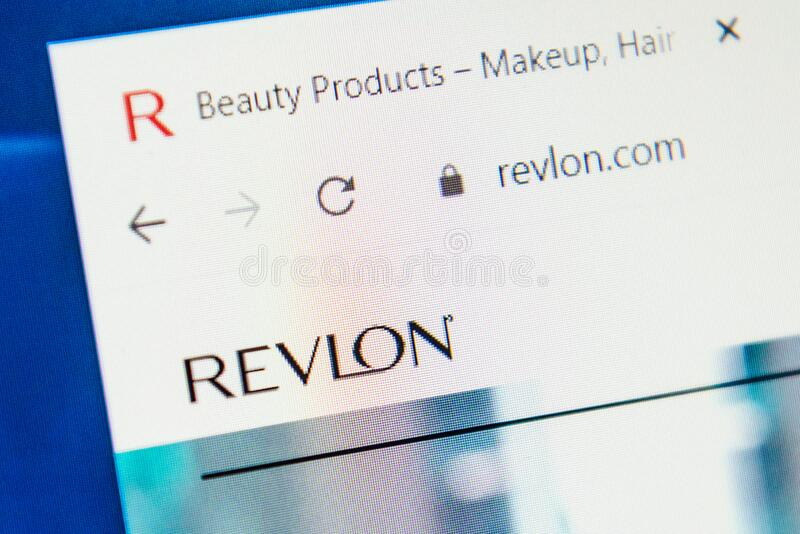 Revlon Web Site. Selective focus. royalty free stock image
