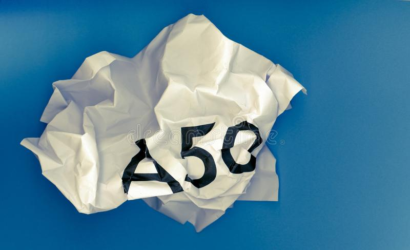 Revoke A50 (Article 50) and remain in the EU. Crumpled paper ball with word A50 representing the growing request to revoke Article 50 to stop Brexit and remain stock photos
