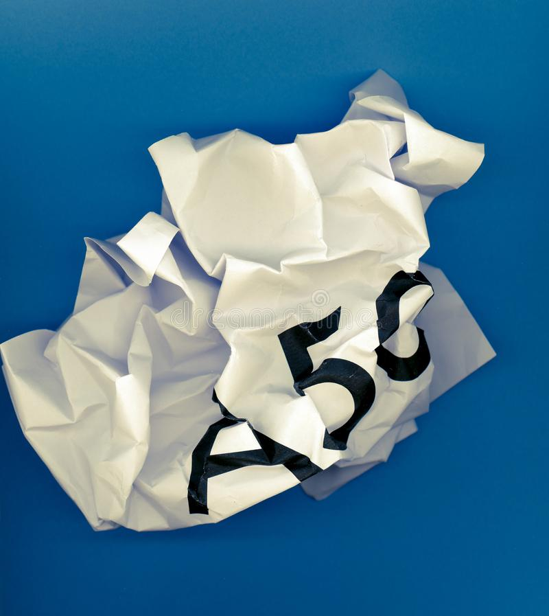 Revoke A50 (Article 50) and remain in the EU. Crumpled paper ball with word A50 representing the growing request to revoke Article 50 to stop Brexit and remain royalty free stock photo
