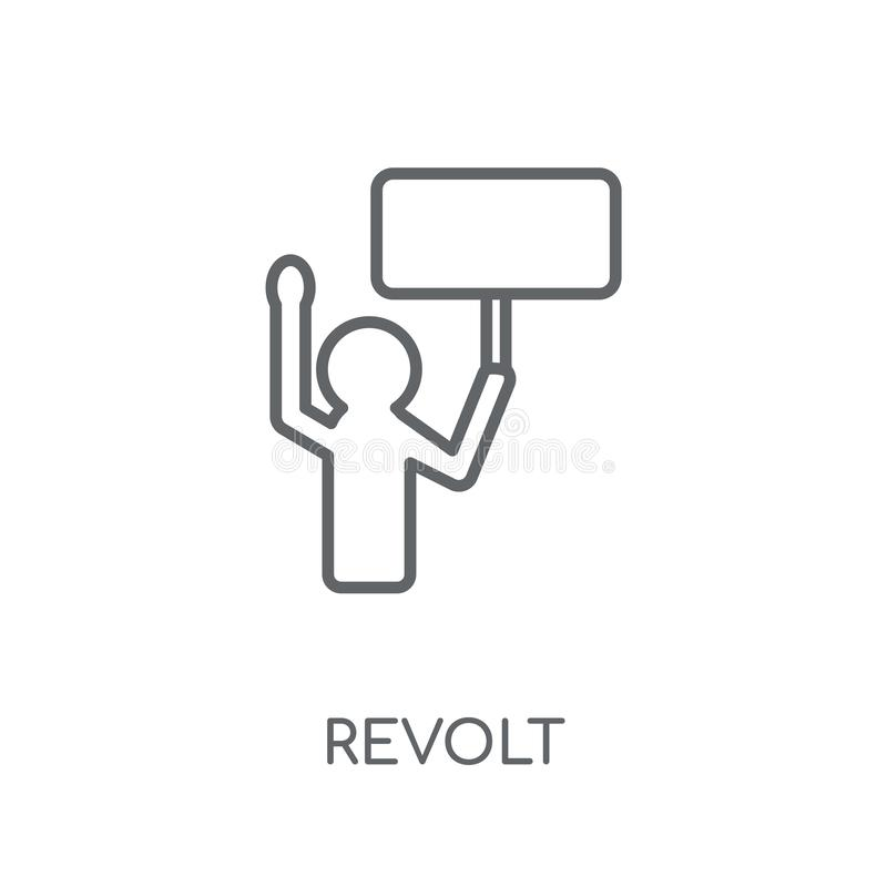Revolt linear icon. Modern outline Revolt logo concept on white. Background from army and war collection. Suitable for use on web apps, mobile apps and print stock illustration