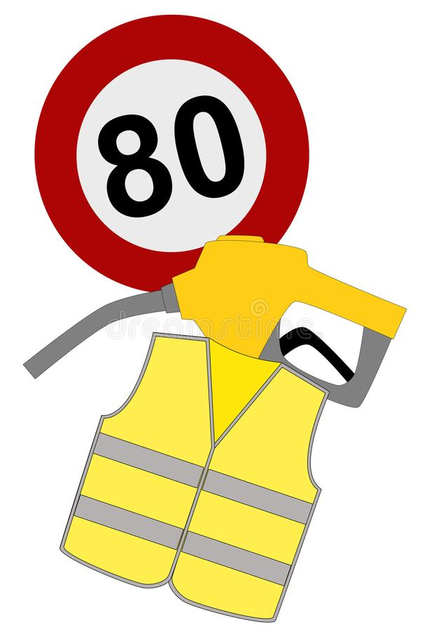 Revolt of yellow vests in France, gaz, 80 km/h stock illustration