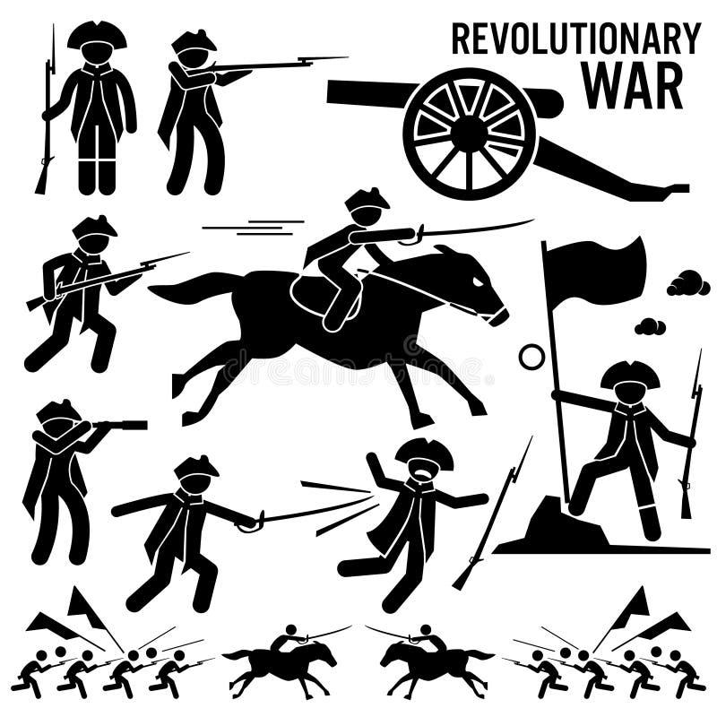 Revolutionär självständighetsdagen patriotiska Clipart för krigsoldatHorse Gun Sword kamp vektor illustrationer