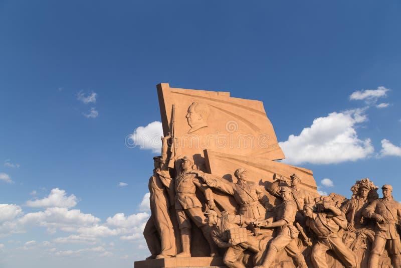 Revolutionäre Statuen am Tiananmen-Platz in Peking, China stockbild