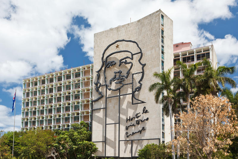 Revolution Plaza. And Ministry of Internal Affairs building with Che Guevara's portrait on the wall royalty free stock image