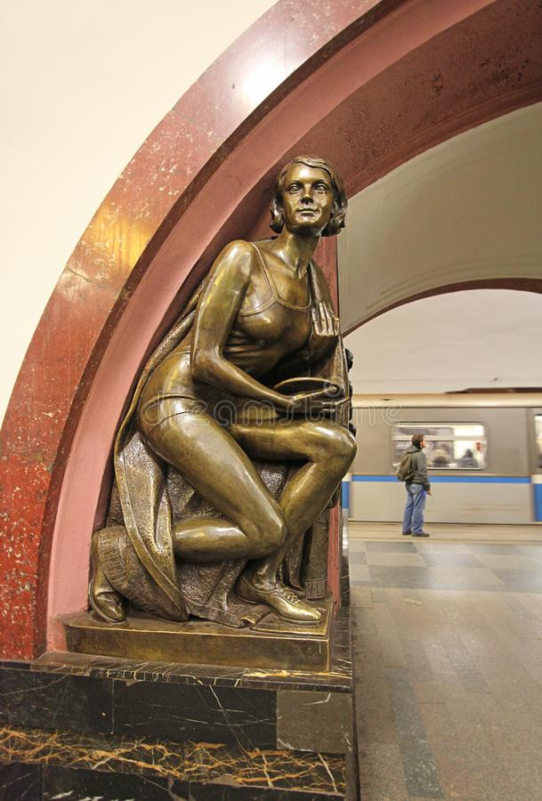 Revolution Square metro station in Moscow. Revolution Square is one of the most famous metro stations in Moscow with many bronze statues inside depicting stock image