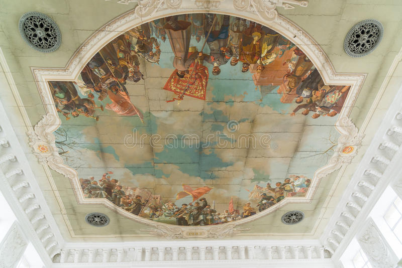 revolutionary panel on ceiling at railway station in Volgograd, Russia stock image