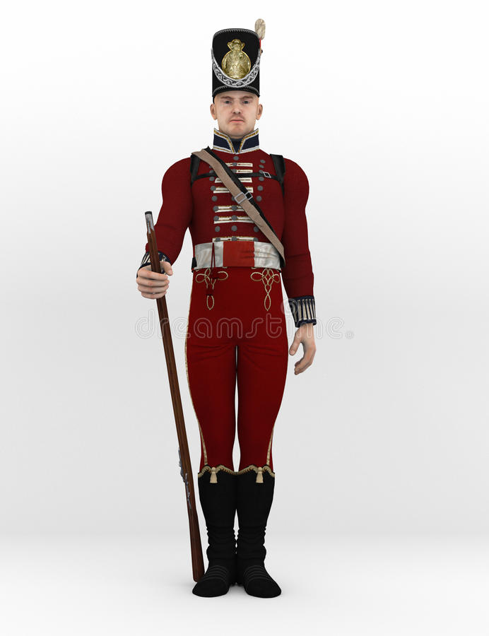 Revolutionary soldier on attention stock images