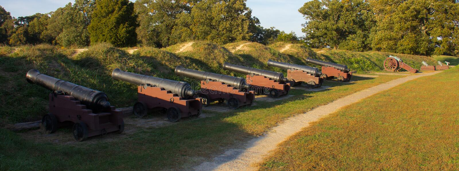 Revolutionary Era Cannons at the Yorktown Battlefield. Revolutionary War era cannons at the National Yorktown Battlefield Park in Yorktown, Virginia stock images