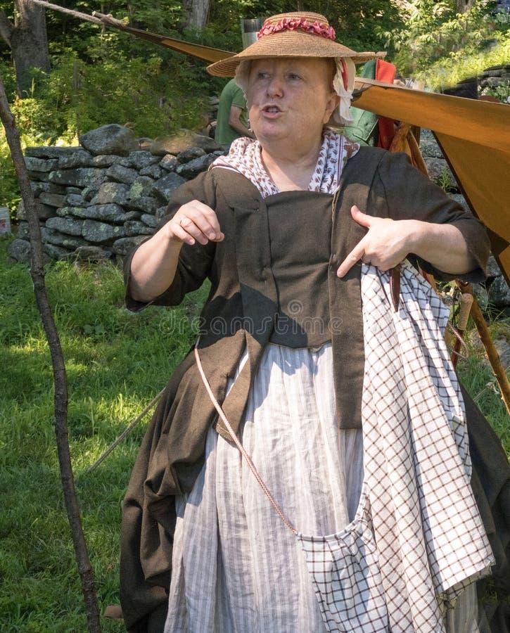 Revolutionary War era reenactor. Female country farmer wife, Revolutionary War era reenactor in time period garments, Bidwell House Museum, Monterey royalty free stock photos