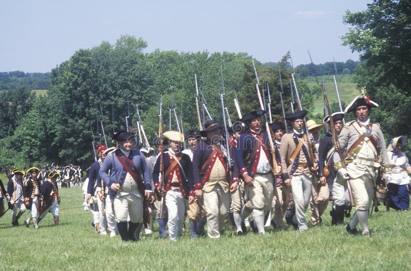 Revolutionary War Reenactment. Freehold, NJ, 218th Anniversary of Battle of Monmouth, Monmouth Battlefield state park stock photography