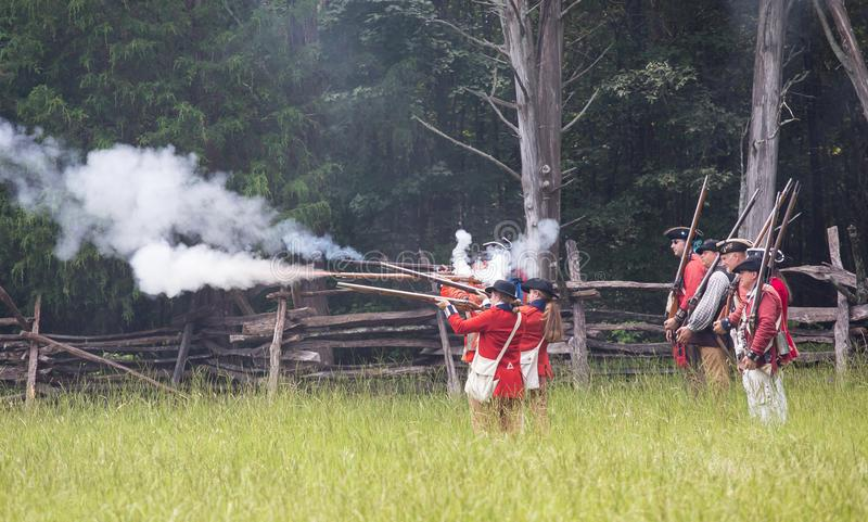 Revolutionary War Reenactors In British Uniforms Editorial