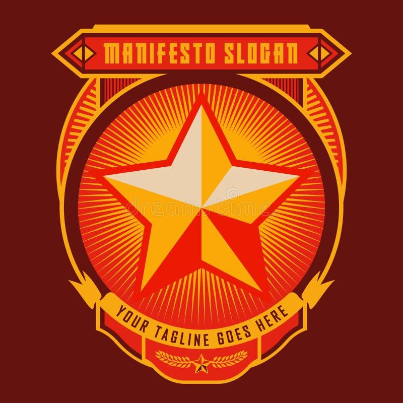 Revolutions-Manifest-Stern-Ausweis lizenzfreie abbildung