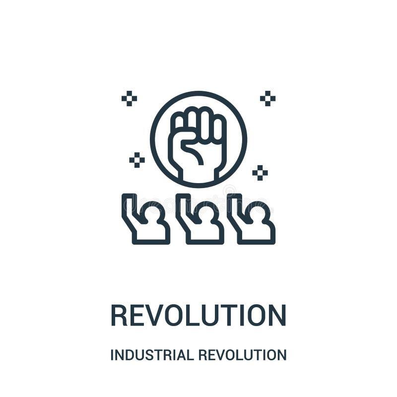 revolutionsymbolsvektor från samling för industriell revolution Tunn linje illustration för vektor för revolutionöversiktssymbol royaltyfri illustrationer
