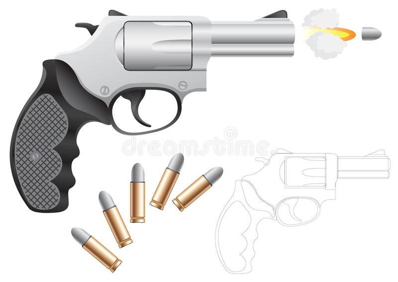Revolver. And bullets isolated on the white background royalty free illustration