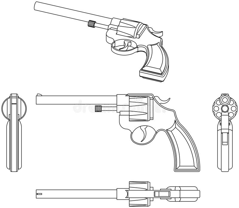 Revolver. Illustration of a classic revolver isolated on white (views from all sides vector illustration