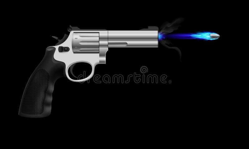 Revolver. Firing ice bullet. Illustration on black background vector illustration