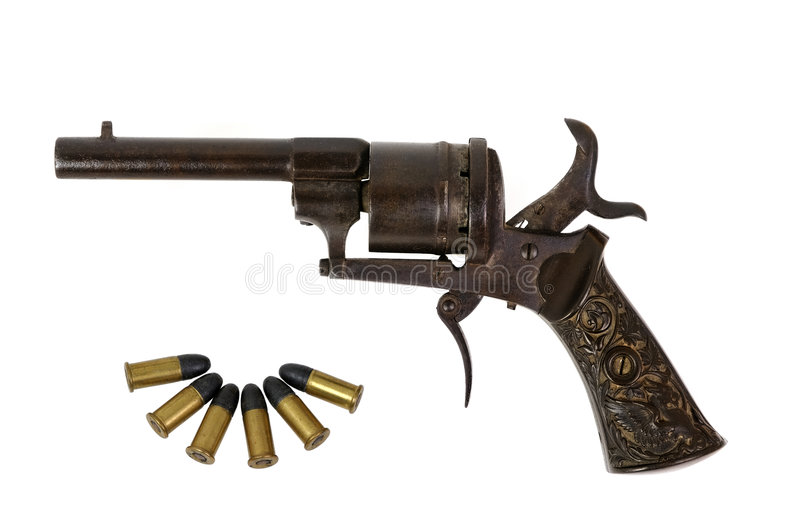 Old Revolver With Bullets Stock Photo Image Of Charge