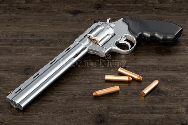 Revolver with bullets on the wooden table, 3D rendering stock illustration
