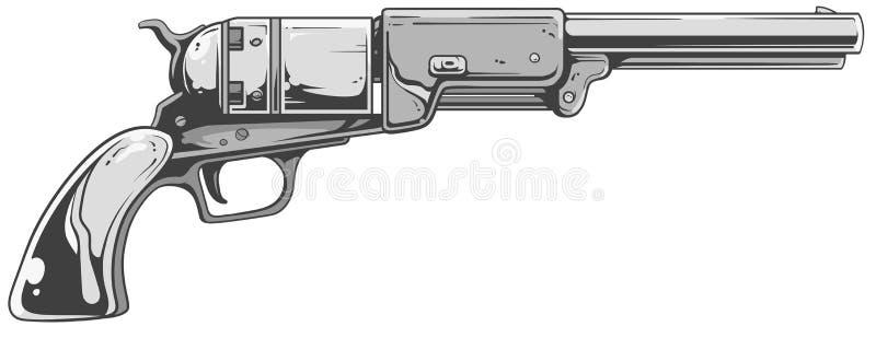 Revolver Colt Walker. A vector illustration of cool old revolver in white-grey tones vector illustration
