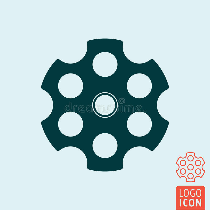 Revolver cylinder icon. Cylindrical rotating part of a revolver with six chambers. Vector illustration royalty free illustration
