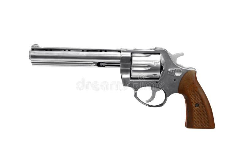 Revolver d'isolement sur le blanc photographie stock